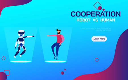 Cooperation Robot and Human. AI artificial intelligence and human cooperate working. Vector Illustration.