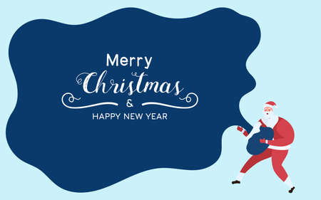 Santa Claus holds santa bag and show text Merry Christmas And Happy New Year. Cartoon Vector Illustration. Иллюстрация