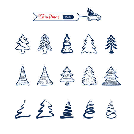Christmas tree line art icons set. Christmas drawing collection. Cartoon Vector Illustration.