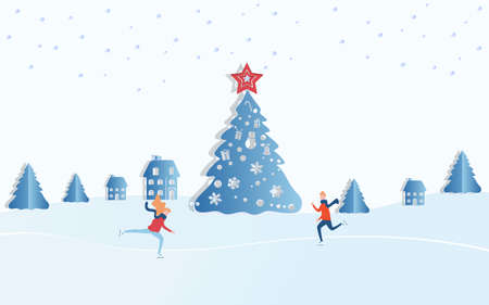 Paper art concept of christmas. Winter landscape snowy street and winter holiday. Sweet Couple boy and girl skating in the winter. Merry Christmas and Happy New Year. Cartoon Vector Illustration.