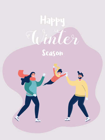 Happy family father, mother and son skating in the winter season. Dad raising his the boy. Happy family gesturing with cheerful smile. Merry Christmas and Happy New Year. Cartoon Vector Illustration.