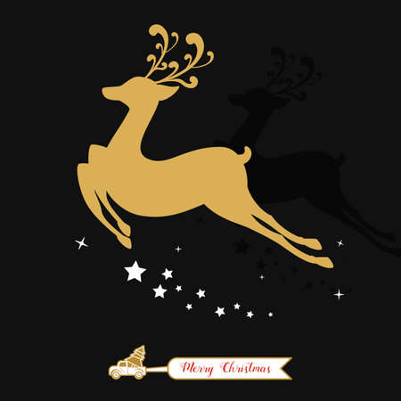 Christmas golden decoration. Gold reindeer silhouette in black background. Cartoon Vector Illustration.