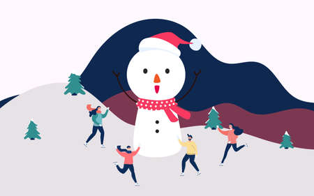 Winter landscape snowy street and winter holiday. Happy family skating with big snowman in the winter. Merry Christmas and Happy New Year. Cartoon Vector Illustration.