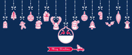 Silhouette. Paper christmas ornaments hanging with ribbon isolated background. Vector Illustration.