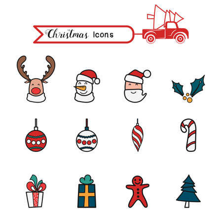 Christmas line art color icons set. Christmas drawing collection. Cartoon Vector Illustration. Иллюстрация
