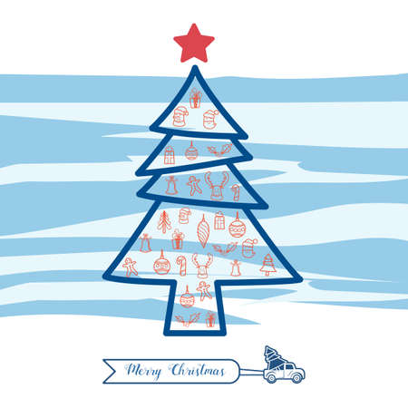 Christmas line art icons set in christmas tree shape. Christmas drawing collection. Cartoon Vector Illustration.