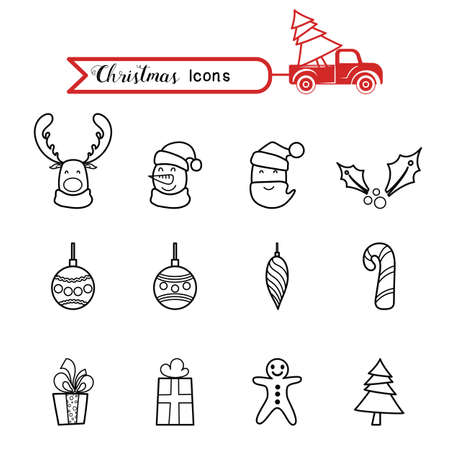 Christmas line art icons set. Christmas drawing collection. Cartoon Vector Illustration.