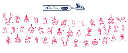 Christmas line art icons element banner. Christmas drawing collection. Cartoon Vector Illustration. Иллюстрация