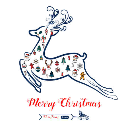 Christmas line art color icons set in Reindeer shape. Christmas drawing collection. Cartoon Vector Illustration. Иллюстрация