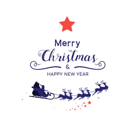 Christmas decoration. Santa sleigh reindeer silhouette in white background. Cartoon Vector Illustration. Иллюстрация