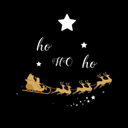 Christmas golden decoration. Santa sleigh reindeer gold silhouette in black background. Cartoon Vector Illustration.