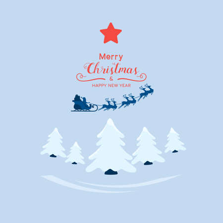 Winter city landscape snowy street and winter holiday. Santa claus flying with reindeer sleigh over the forest. Cartoon Vector Illustration. Иллюстрация