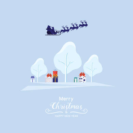 Winter city landscape snowy street and winter holiday. Santa claus flying with reindeer sleigh over the forest with gift box. Cartoon Vector Illustration. Иллюстрация