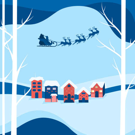 Winter city landscape snowy street and winter holiday. Santa claus flying with reindeer sleigh over a city. Cartoon Vector Illustration.