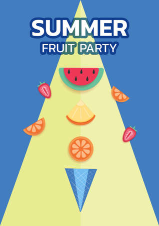 Paper art style. Design poster Summer Fruit Party with ice cream cone and fruit watermelon, strawberry, orange, pineapple. Paper cut modern design summer fruit concept. Vector Illustration Иллюстрация