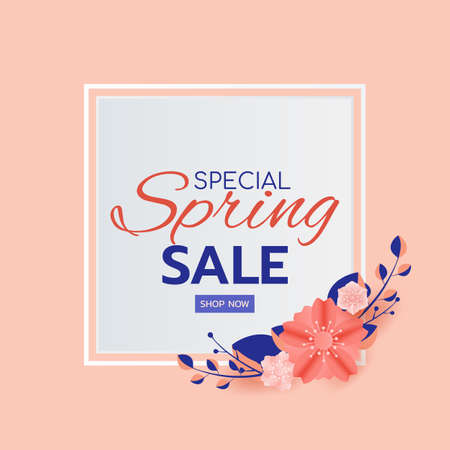 Paper art style. Spring sale banner design leaves and flower. Promotion offer template, banners, brochure, voucher discount, flyers, invitation, posters, wallpaper. Paper cut modern design. Vector Illustration. Иллюстрация