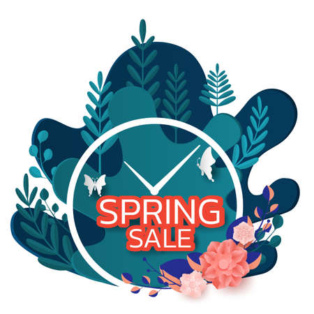Paper art style. Spring sale banner design leaves flower and butterfly. Promotion offer template, banners, brochure, voucher discount, flyers, invitation, posters, wallpaper. Paper cut modern design. Vector Illustration. Иллюстрация