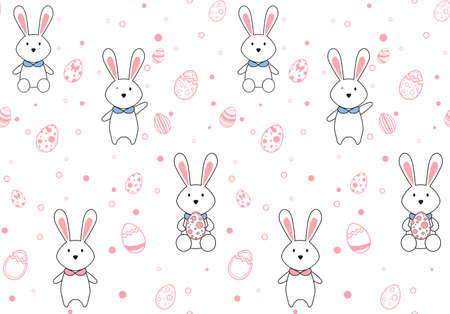 Easter egg seamless pattern. Easter and Spring season holiday design for website, printing on fabric, gift wrap and wallpapers. Vector Illustration. Иллюстрация