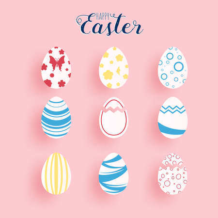 Happy Easter paper art.  Set of colorful Easter eggs different texture in paper cut style. Vector Illustration.