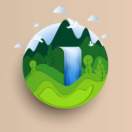 Earth Day paper cut style. Eco Friendly concept. Paper art Vector Illustration.