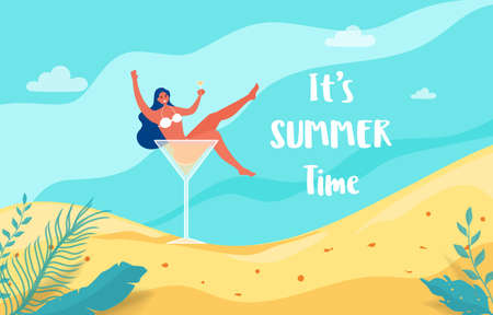 Summer holiday with beach scene. Hot girl in cocktail glass lets party summer vacation. Vector Illustration.