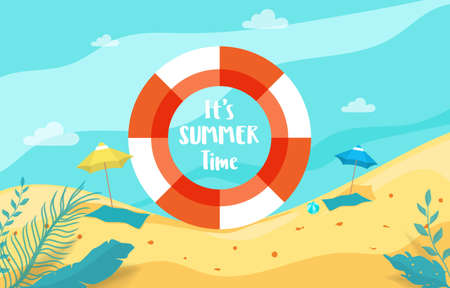 Summer holiday with beach scene sea view inside rubber ring. Summer Vacation Vector Illustration.