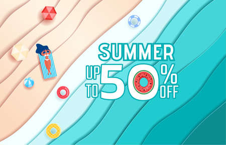 Top view blue sea paper waves and beach sale advertising design . Hot girl relaxing and sunbathe in summer season. Cartoon Vector Illustration.
