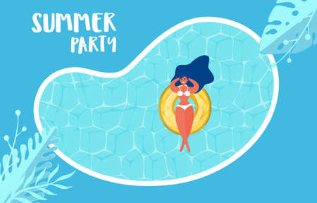 Top view of summer pool party. Summer time hot sale advertising design with girl on rubber ring in swimming pool. Vector Illustration.
