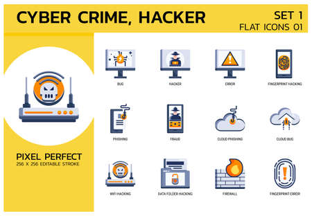 Flat Icons Style. Hacker Cyber crime attack for web design, ui, ux, mobile web, ads, magazine, book, poster. Vector 256x256 Pixel Perfect Editable stroke.
