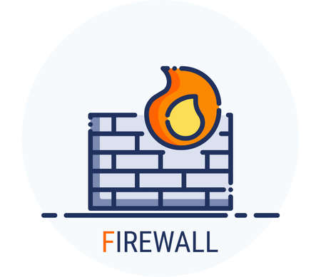 Filled Line Icons Style. Hacker Cyber crime attack Firewall for web design, ui, ux, mobile web, ads, magazine, book, poster. Vector Pixel Perfect Иллюстрация