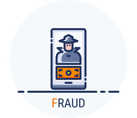 Filled Line Icons Style. Hacker Cyber crime attack Fraud for web design, ui, ux, mobile web, ads, magazine, book, poster. Vector Pixel Perfect