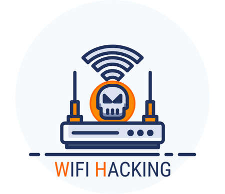 Filled Line Icons Style. Hacker Cyber crime attack Wifi Hacking for web design, ui, ux, mobile web, ads, magazine, book, poster. Vector Pixel Perfect