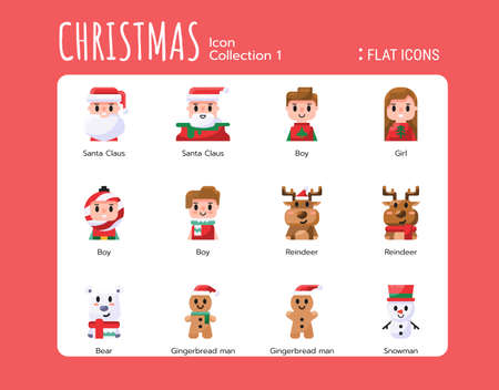 Flat Icons Style. Christmas Avatar for web design, ui, ux, mobile web, ads, magazine, book, poster. Vector 256x256 Pixel Perfect.