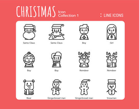 Line Icons Style. Christmas Avatar for web design, ui, ux, mobile web, ads, magazine, book, poster. Vector 256x256 Pixel Perfect.