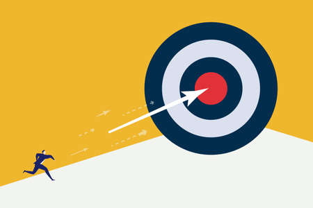 Businessman throw arrow to dartboard hit the center success target. Vector Illustration.