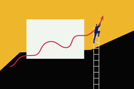 Businessman develop business to success and growing growth graph. Vector Illustration.