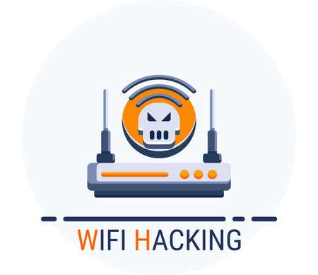 Flat Icons Style. Hacker Cyber crime attack Wifi Hacking for web design. Vector Pixel Perfect Vektoros illusztráció