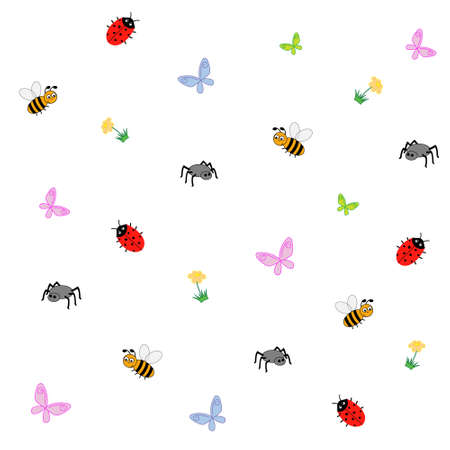 Editable vector illustration of a collection of cartoon insects Vector