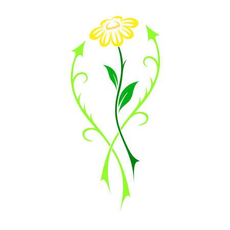 beautiful flower: Interesting beautiful flower vector in tattoo style - illustration