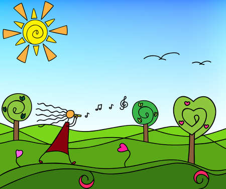 keys to heaven: Spring nature with trees. Vector illustration - Doodle.
