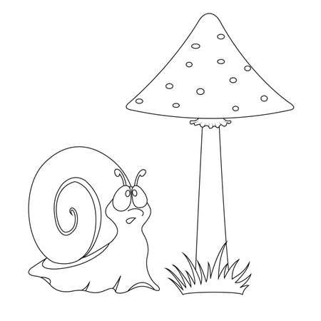 slow food: Illustration funny cartoon snail and mushroom in nature Illustration