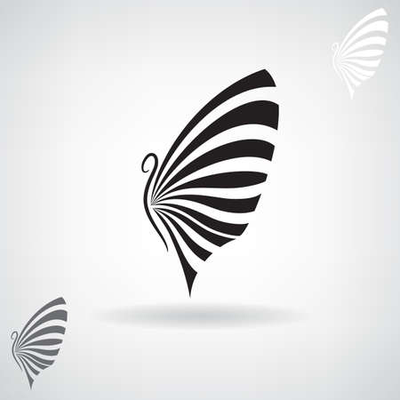 abstract animal: Stylized black silhouette of a butterfly.