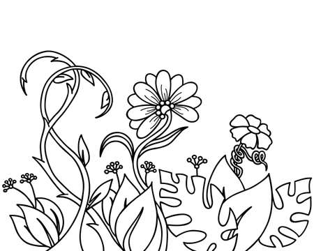 abstract flowers: Abstract plants and flowers Illustration