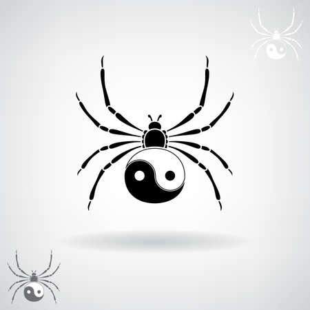 fang: Black silhouette of a spider. illustration. Illustration