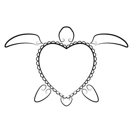 turtles love: Stylized silhouette of a turtle.  illustration.