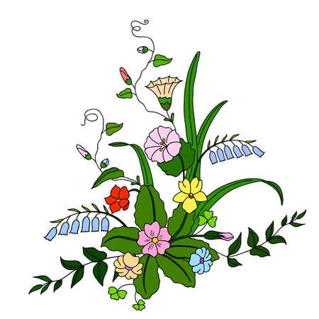 flowerbed: Beautiful bouquet of wild flowers. illustration.