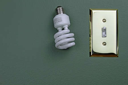 Fluorescent light bulb next to light switch on green wall. photo