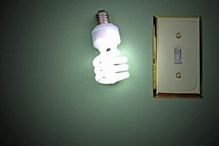 Fluorescent light bulb lit up next to switch on green wall.