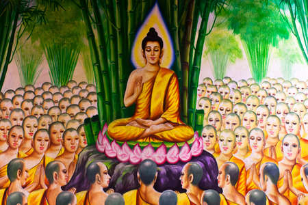 puja: Mural Buddhist religion.Temple in Thailand.