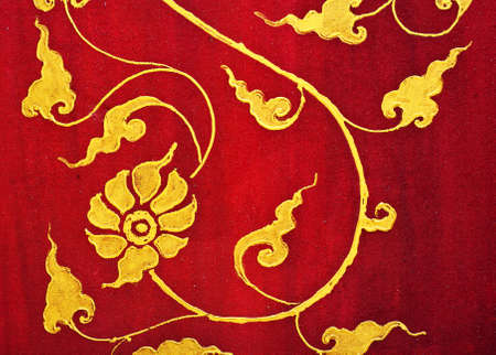 thailand fabrics: Flower pattern in traditional Thai style art painting Editorial